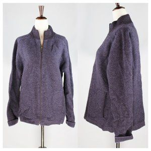 Patagonia 100% Wool Purple Full Zip Sweater Size M